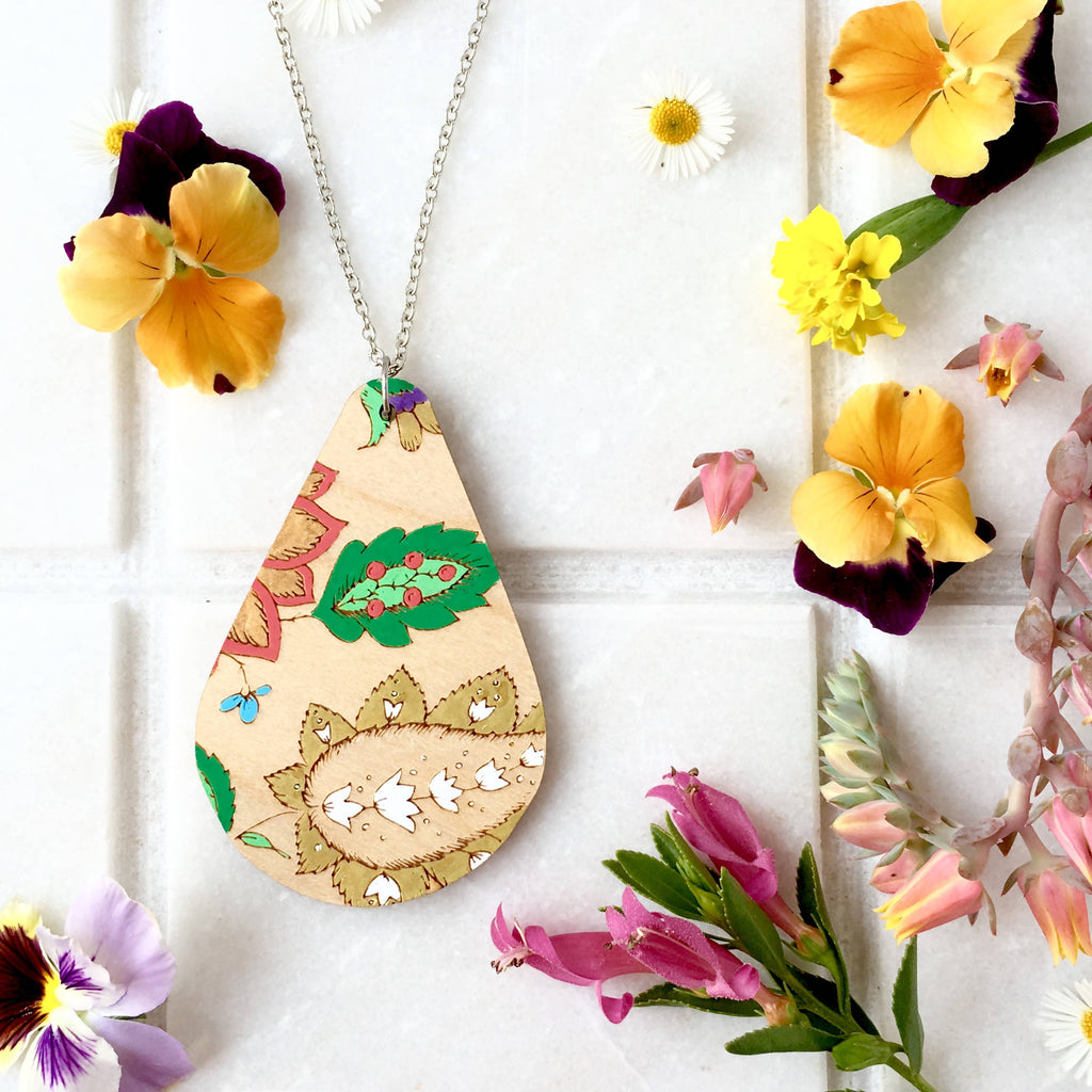 French Wallpaper Teardrop Necklace