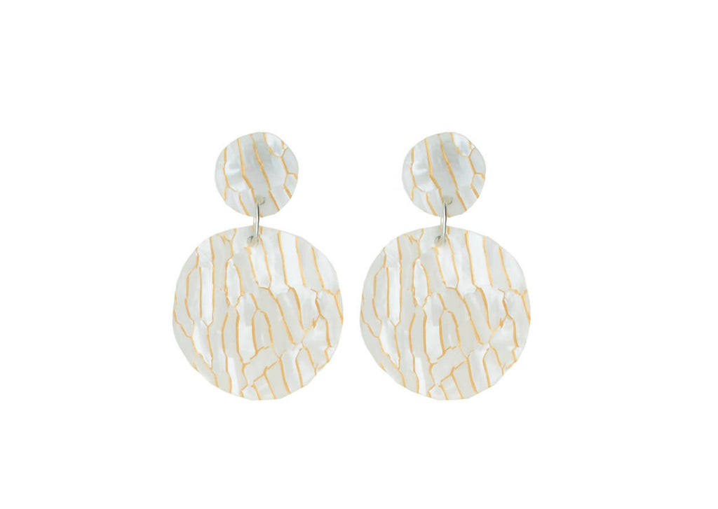 Cream/ gold circle dangle earrings | Shatter Acrylic Statement Earrings | Laser Cut