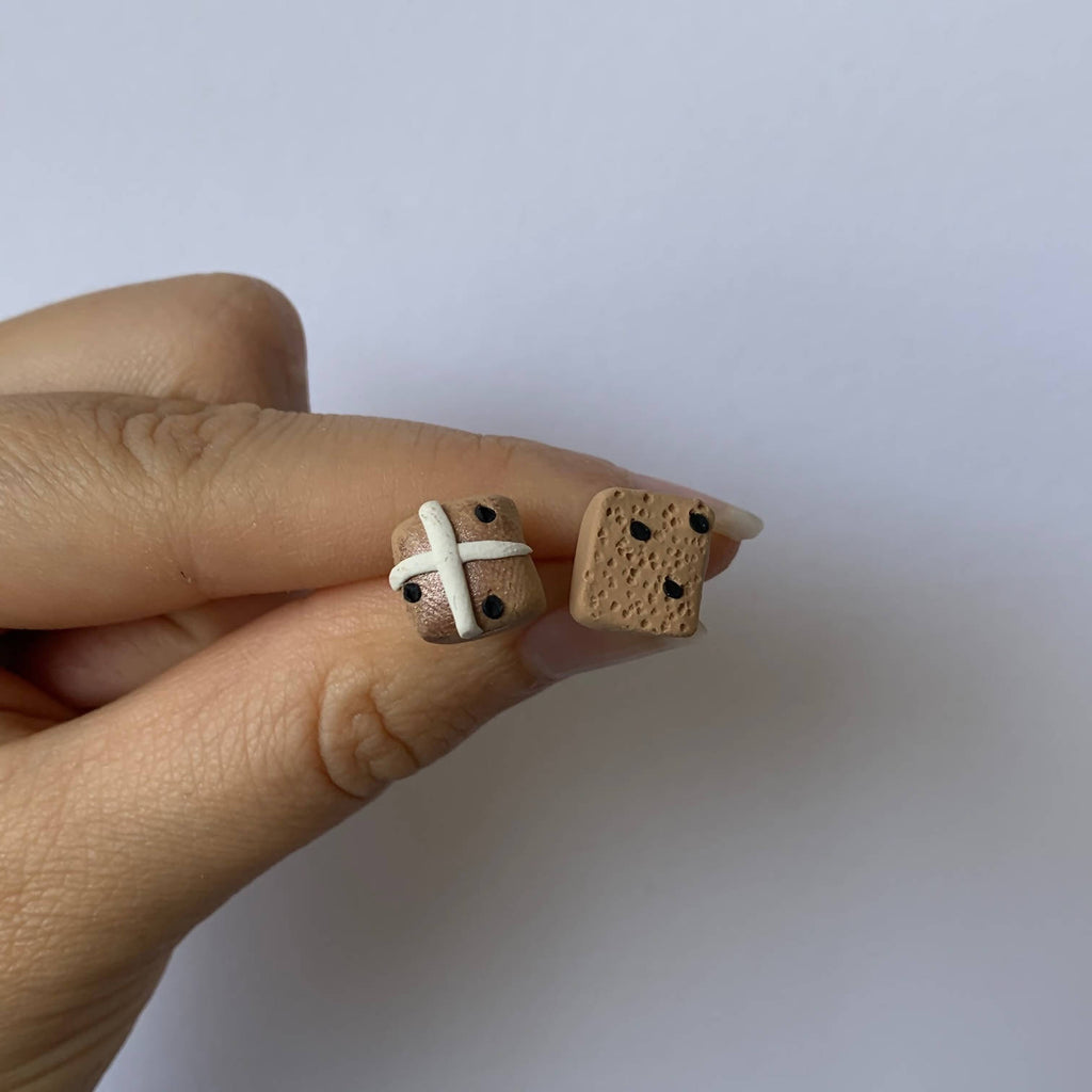 Cut hot cross buns - Handcrafted Polymer Clay Stud Earrings