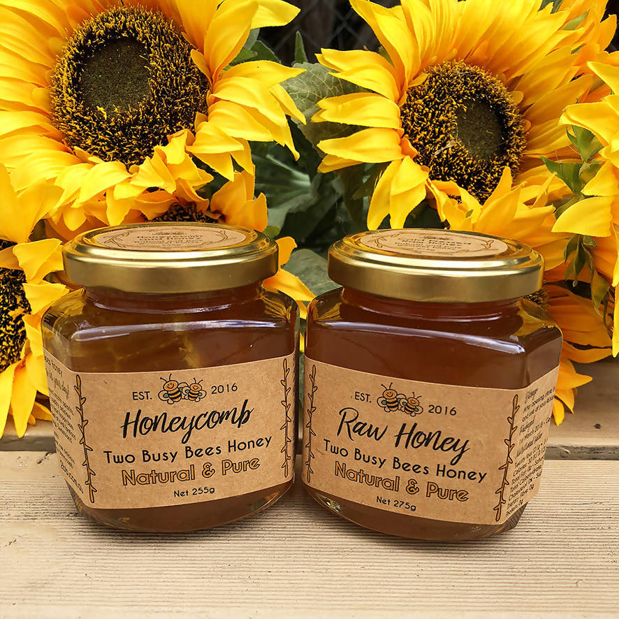 Honeycomb in Honey and Pure Raw Honey - Two Jar Set