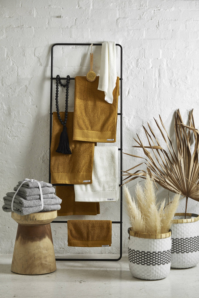 Luna Herringbone 5 Piece Towel Set - Turmeric