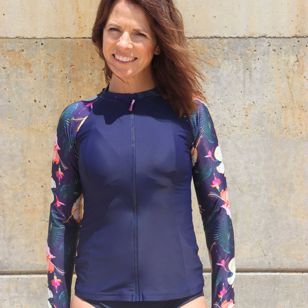 Women's Long Sleeve UPF50+ Rash Vest - Salt -Summer Holidays