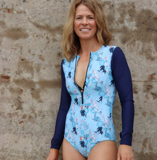Women's Long Sleeve UPF50+ Swimsuit - Merewether Waterbirds