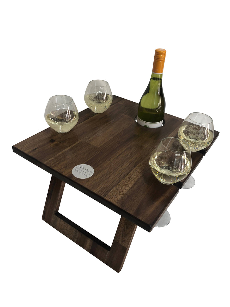 Folding Wine Table- 4 Glass Hardwood Table