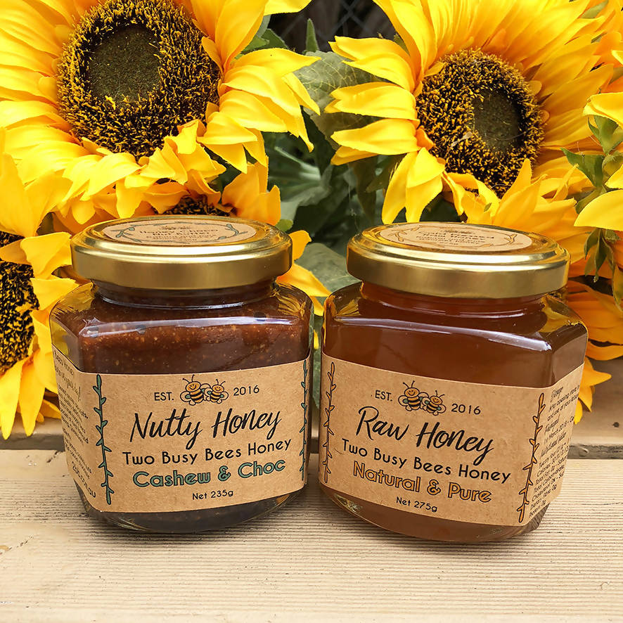 Honey Chocolate Cashew Nut Butter and Pure Raw Honey - Two Jar Set