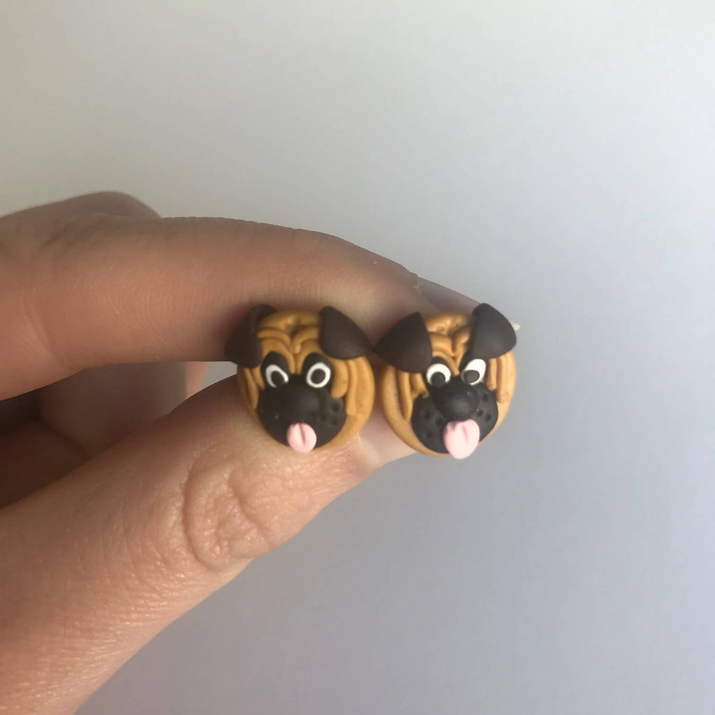 Pugs - Handcrafted Polymer Clay Stud Earrings