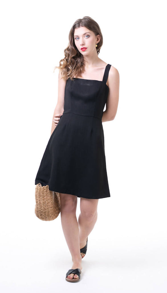Tie Back Dress Black