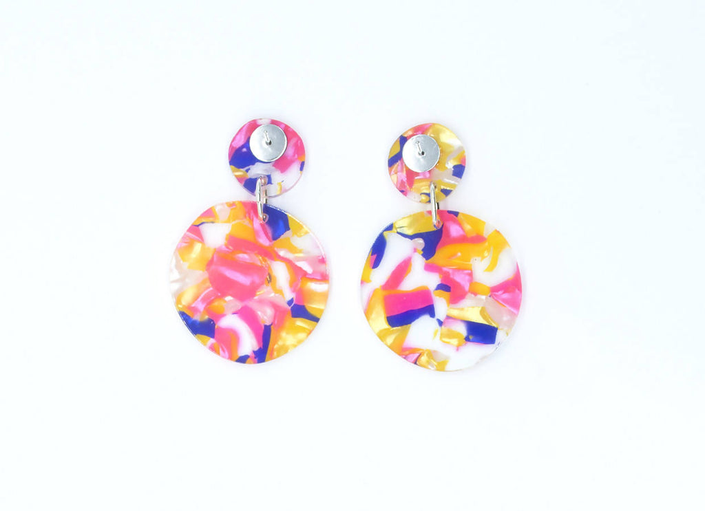 Multi Coloured Circle Dangle Earrings | Acrylic Statement Earrings | Laser Cut