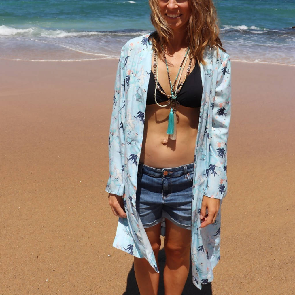 Lou Lou Women's Beach Kimono in Waterbirds