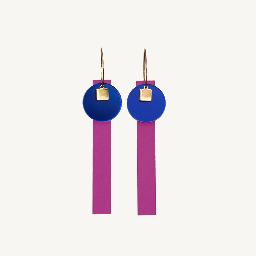 Disco Dangle Earrings - Fuschia Pink - Statement Jewellery - Laser Cut Acrylic Earrings - By juniper and jet
