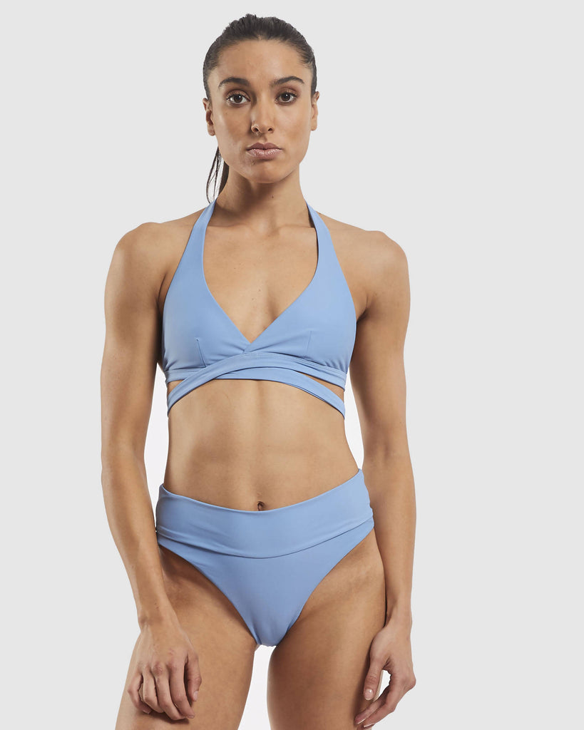 Ashleigh Wrap Around Bra Top - Glacier Blue