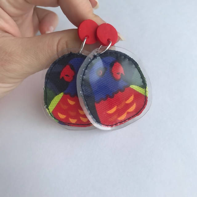 Rainbow Lorikeet - Fabric Statement Earrings