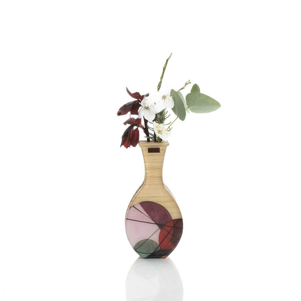 Small handmade vase; red geo. Wall mount or free stand.