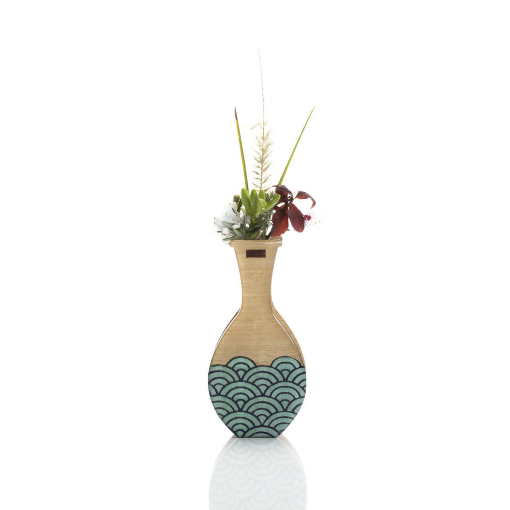 Small handmade vase: teal wave. Wall mount or free stand.