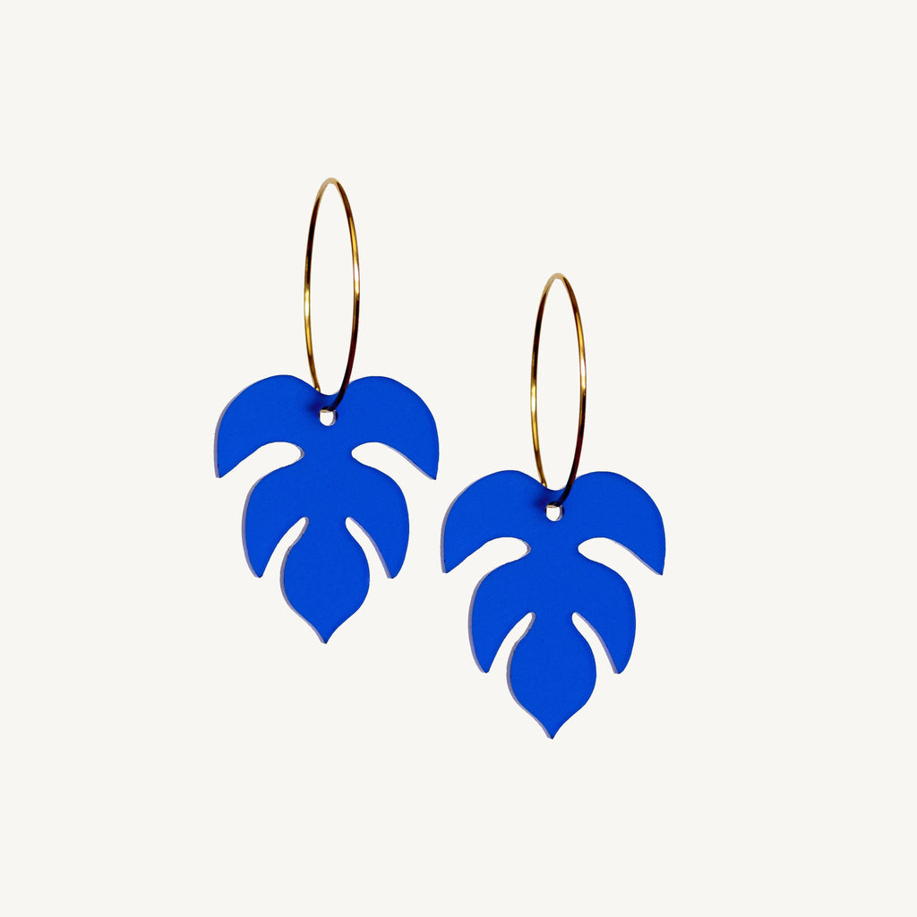 Eve Hoops - Cobalt Blue - Statement Jewellery - Laser Cut Acrylic Earrings - By juniper and jet