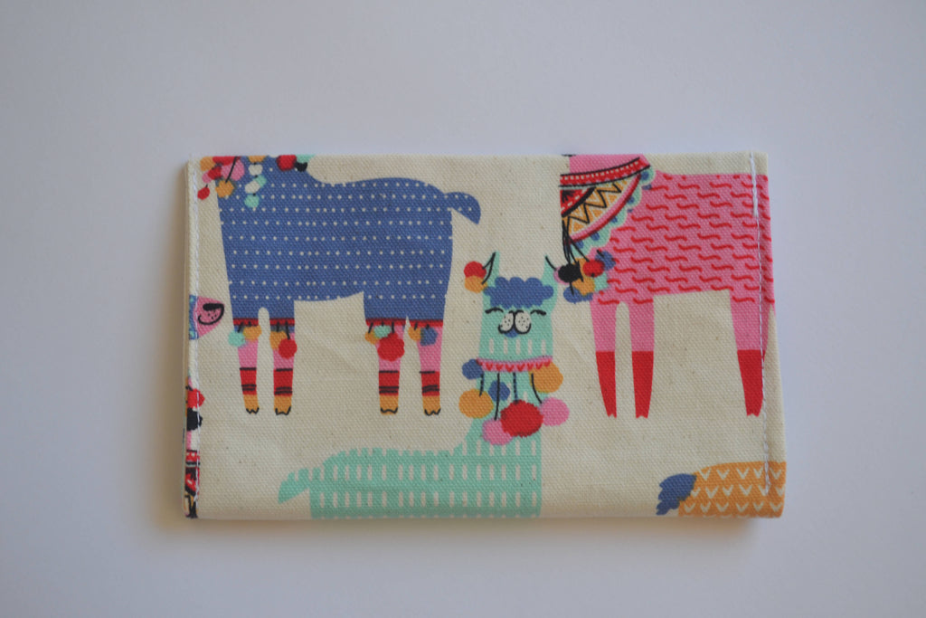 Loopy llama fabric earrings travel pouch