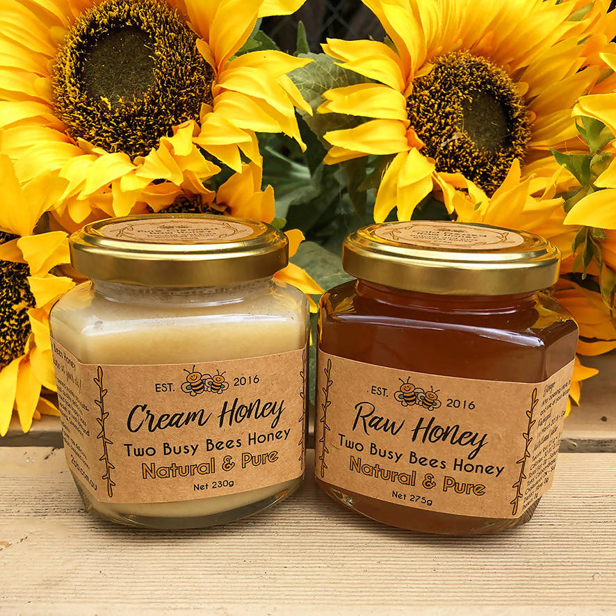 Creamed honey and pure raw honey - Two Jar Set