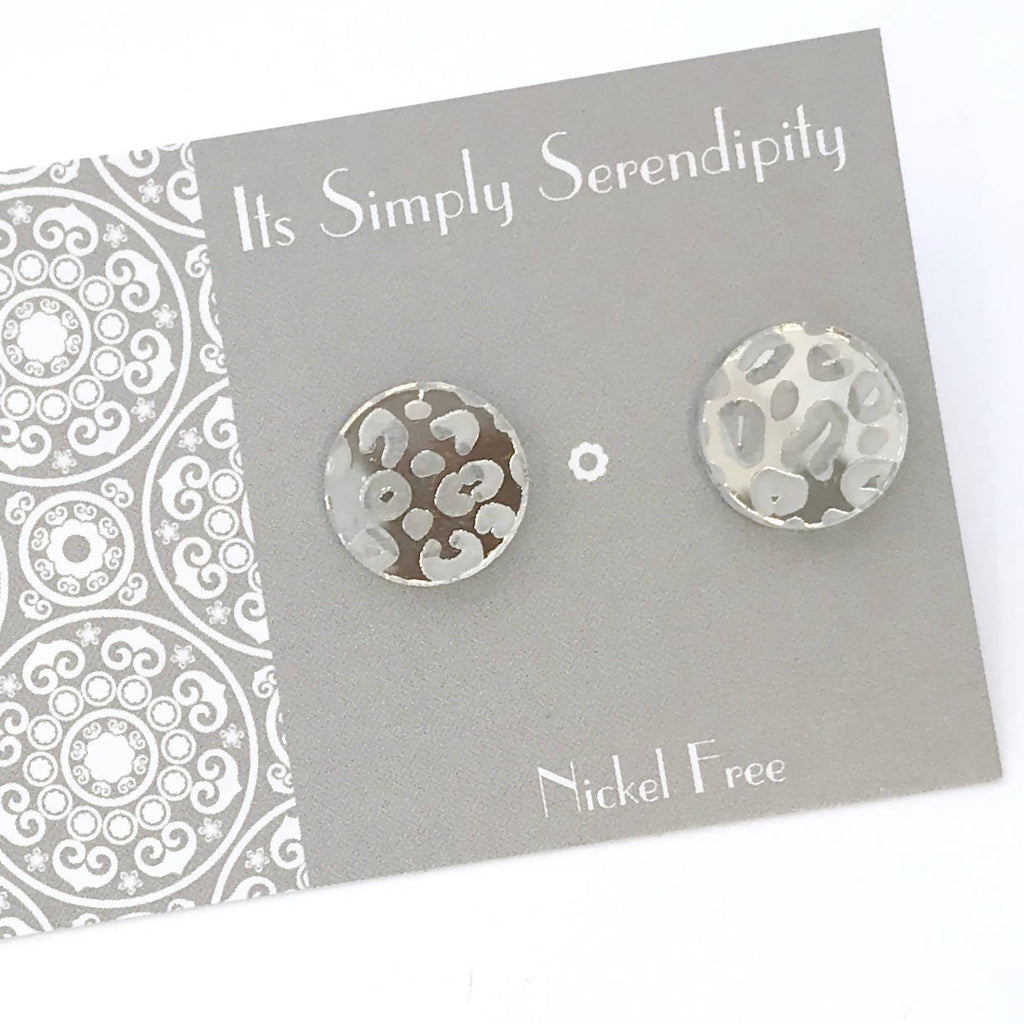 Statement Studs...Luxe Leopard - Silver
