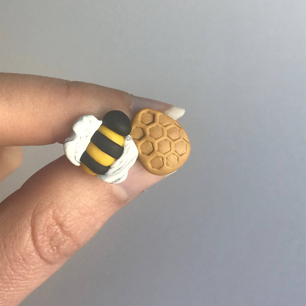 Bee & Honeycomb - Handcrafted Polymer Clay Stud Earrings