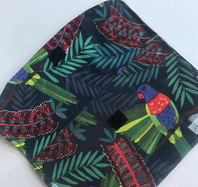 Rainbow Lorikeet fabric clutch