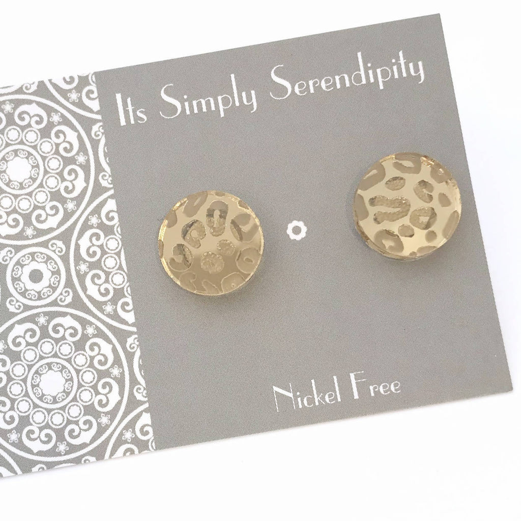 Statement Studs...Luxe Leopard - Gold