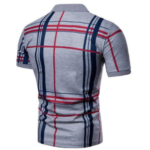 Men Casual Lattice Short Sleeve Different Frinting Grid Pol - duo-men-store