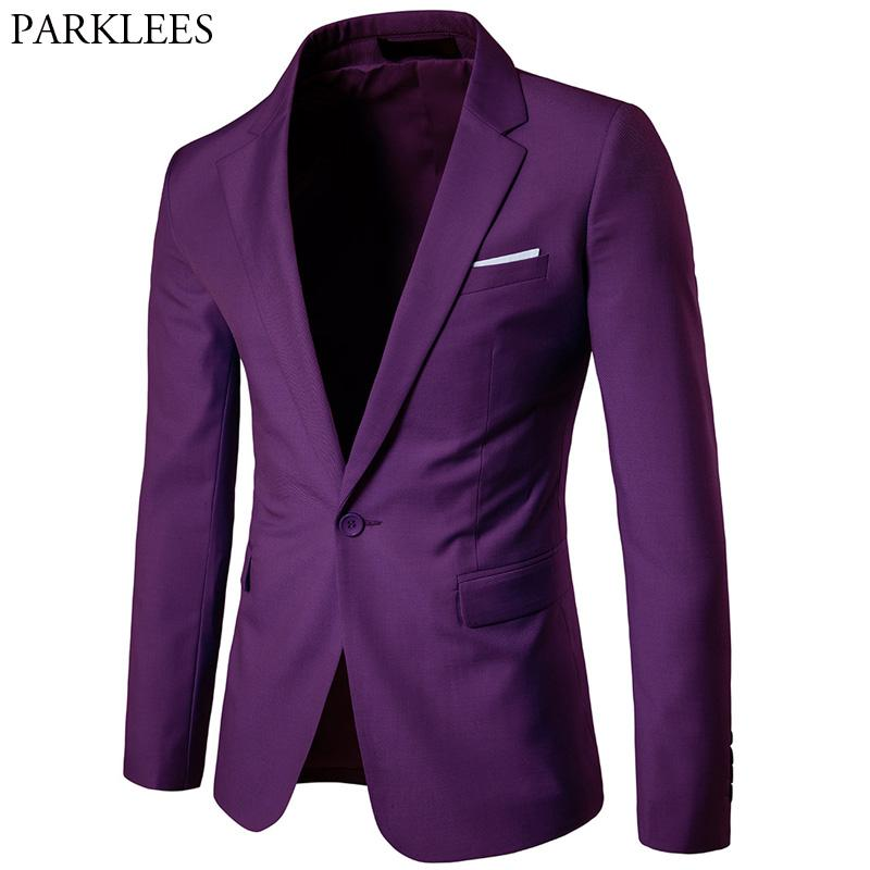 Men's Purple Single Breasted One Button Suit Blazer Spring - DUO MEN STORE