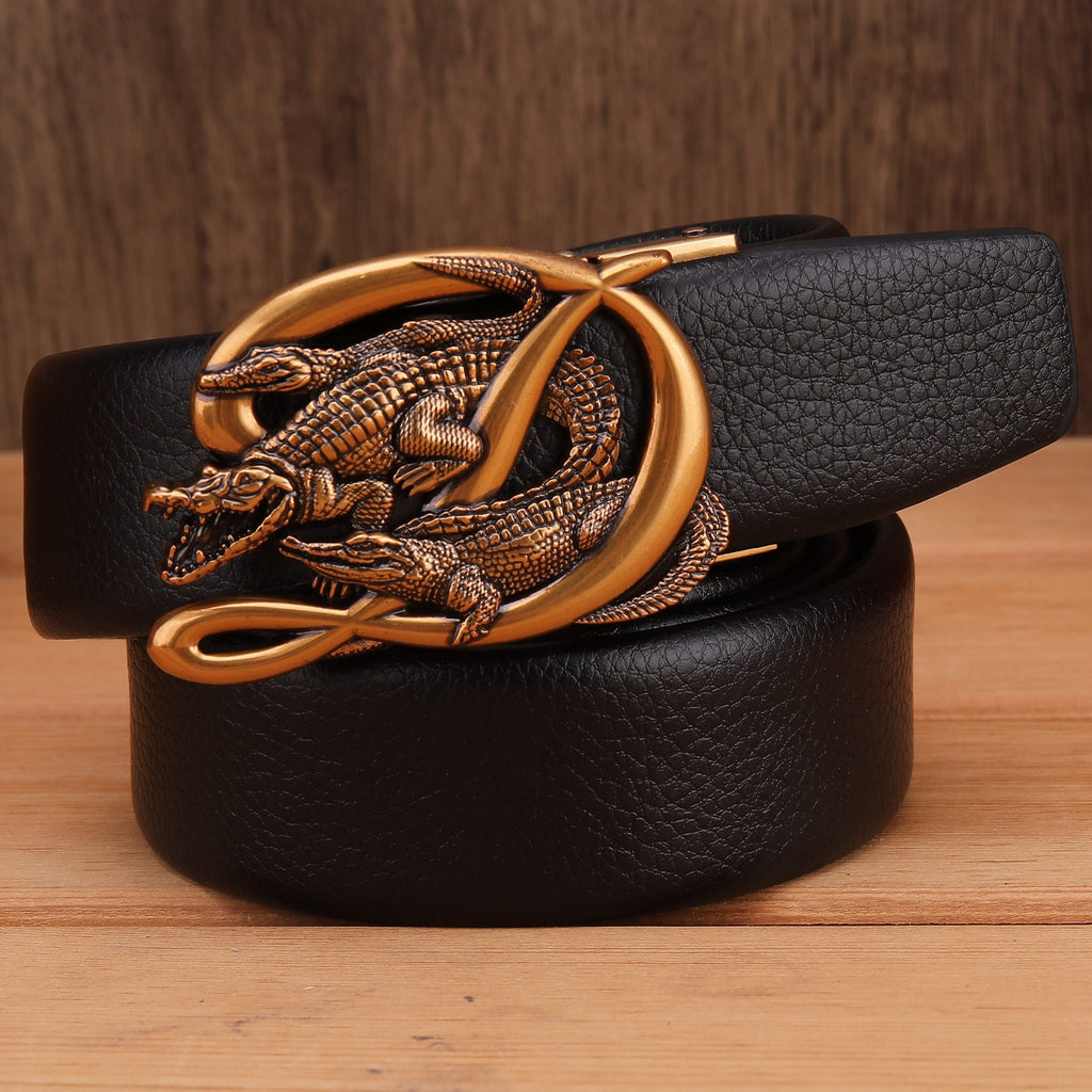 New Crocodile Alligator Mens Belts Luxury High Quality Big Size Waist Strap Automatic Buckle - DUO MEN STORE