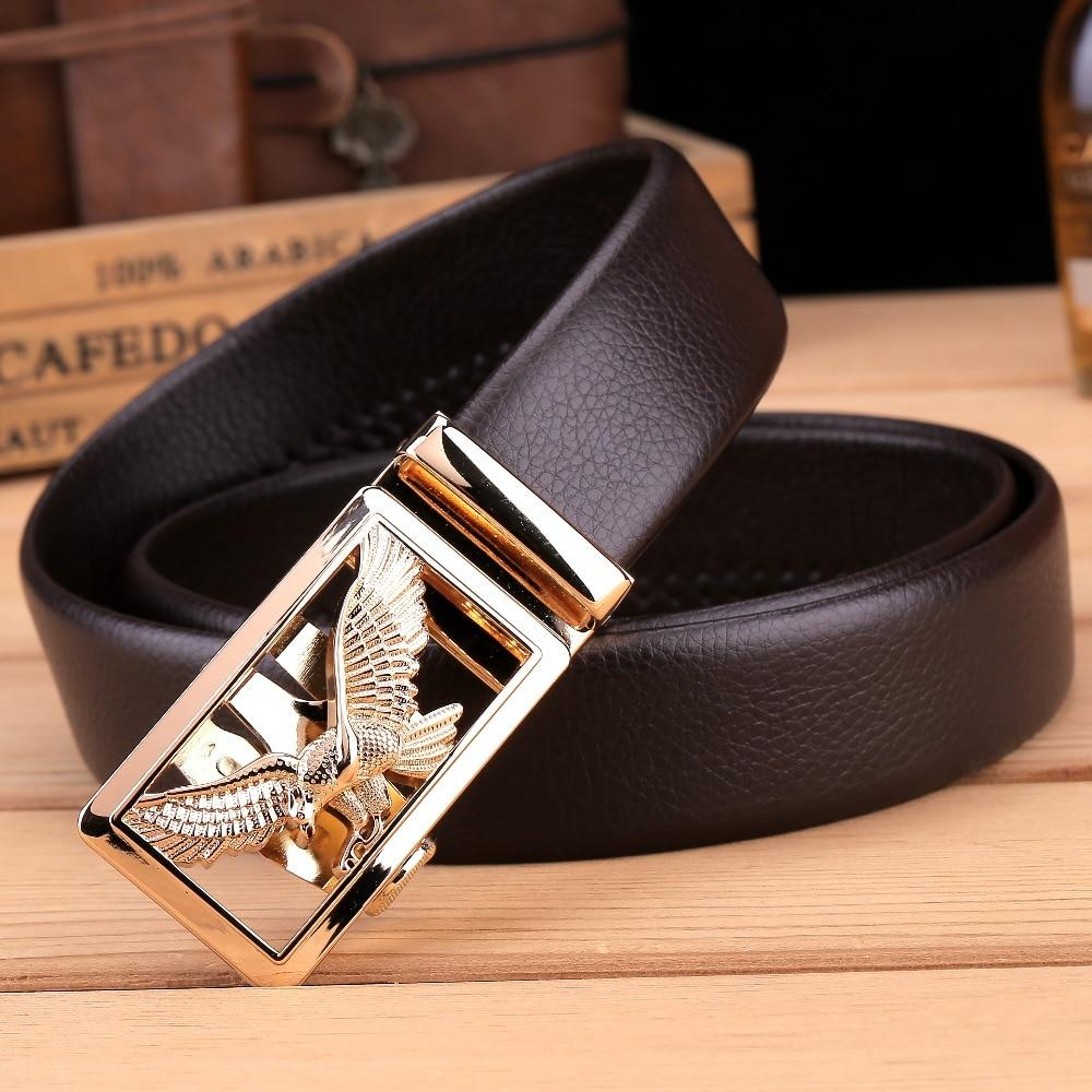 New Eagle Belts for Men Luxury Automatic Buckle Microfiber Leather Black Brown - DUO MEN STORE