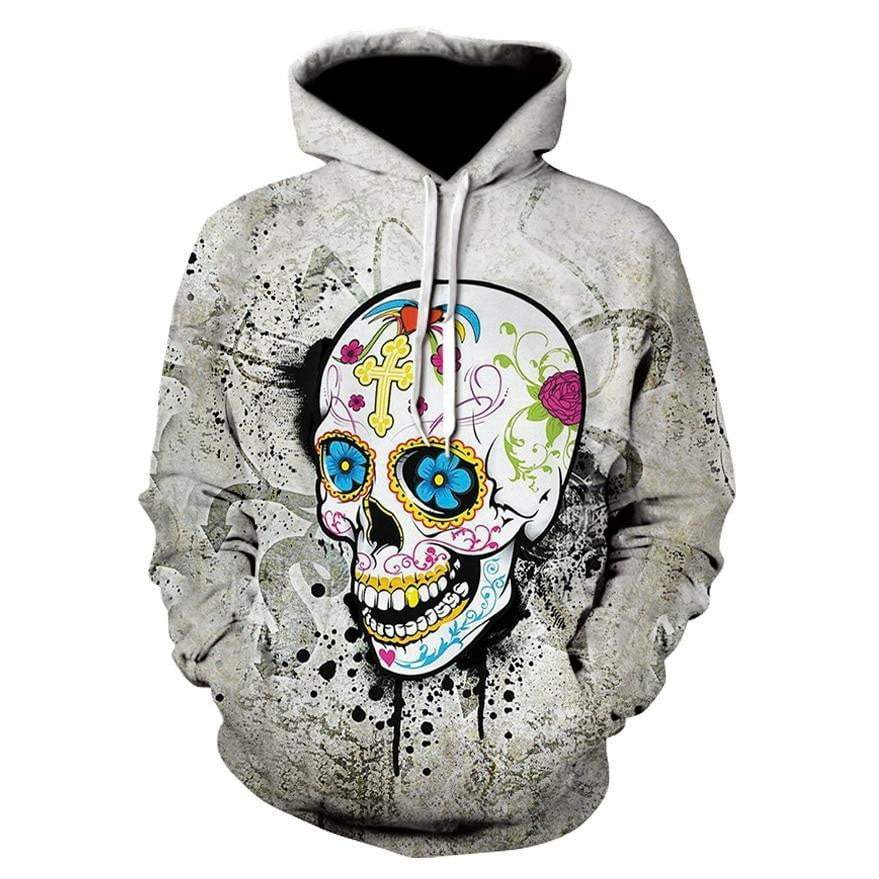Men Halloween Skull Digital Printing Long-sleeve Hoodies - DUO MEN STORE