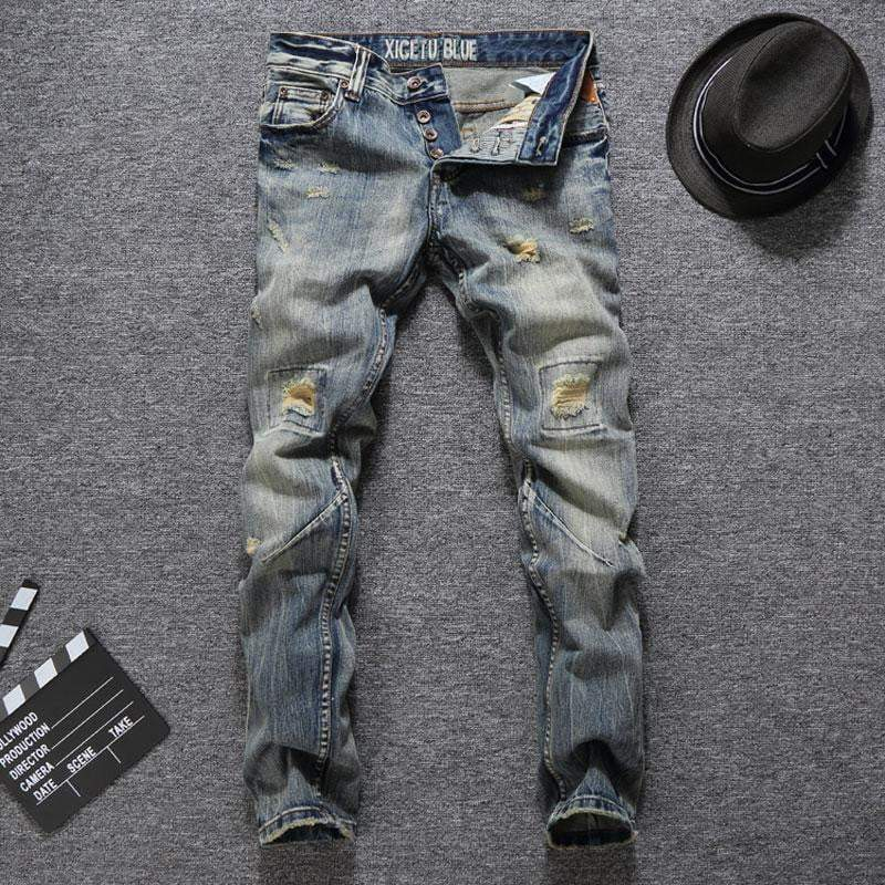 Men Jeans Slim Fit Buttons Jeans Casual Long Ripped Jeans - DUO MEN STORE