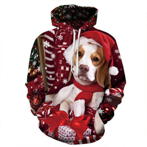 Women Men Christmas 3D Dog Print Sweater Hoodies - DUO MEN STORE