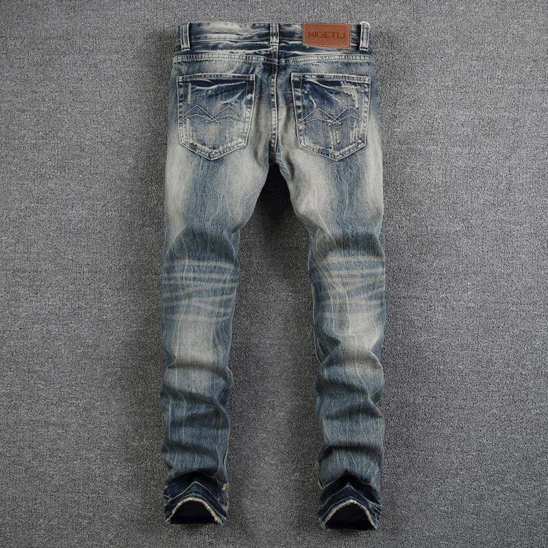 Mens Jeans Destroyed Ripped Jeans For Men Casual Slim Fit Brand Streetwear - DUO MEN STORE