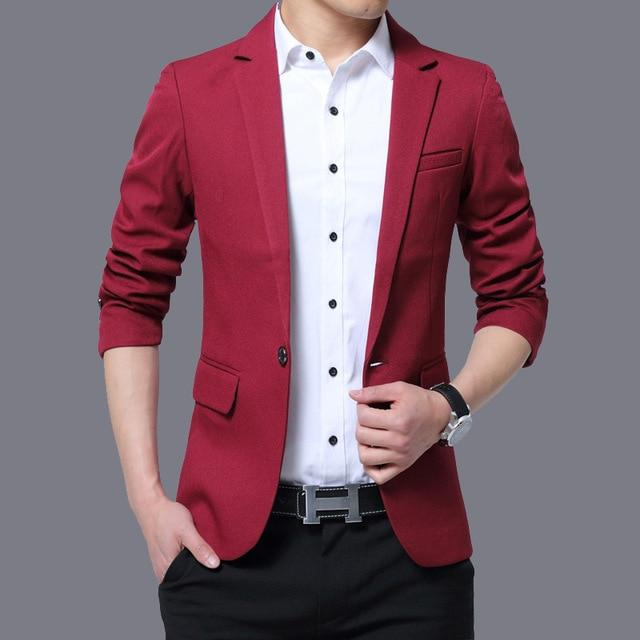 Mens Red Notched Lapel Suit Blazer Jacket Business Casual Blazer - DUO MEN STORE