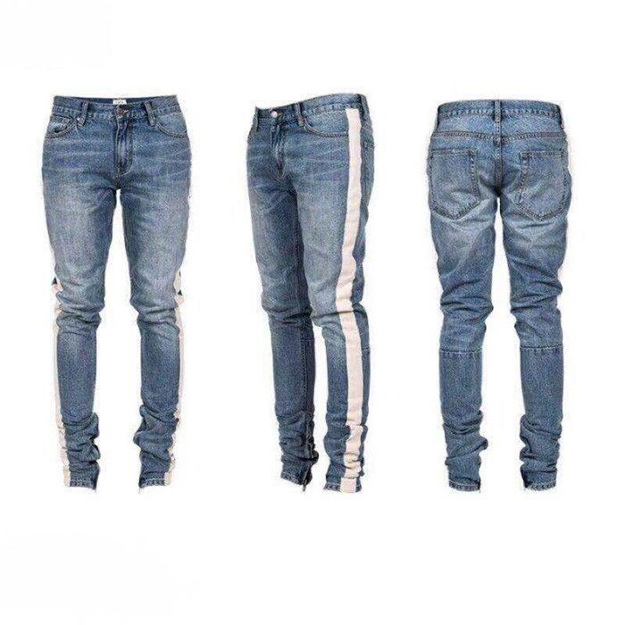 Hip Hop Ripped Destroyed men Hole jeans Biker White stripe stitching Bottom Side zipper Jeans - DUO MEN STORE