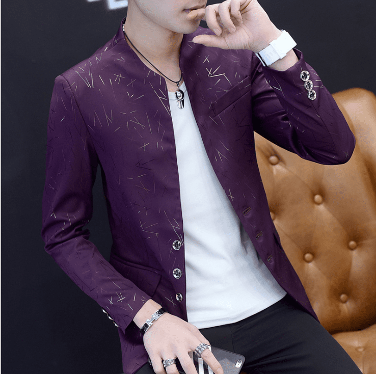 Men 's Casual Collar Suit Youth Handsome Trend Slim Print Suit - DUO MEN STORE