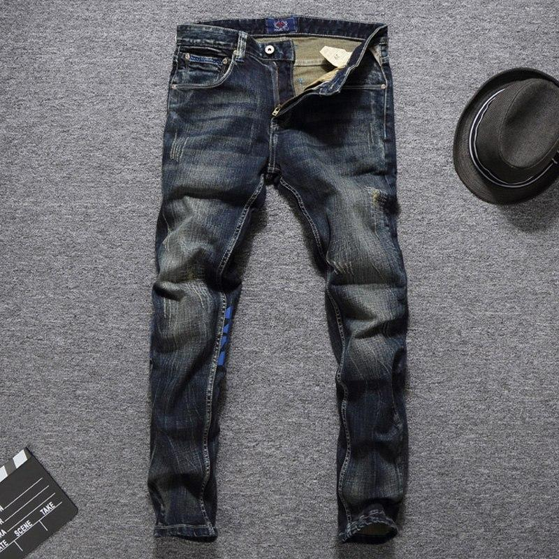 Men Jeans High Quality Slim Fit Classical Jeans Cotton Denim Brand Printed Jeans - DUO MEN STORE