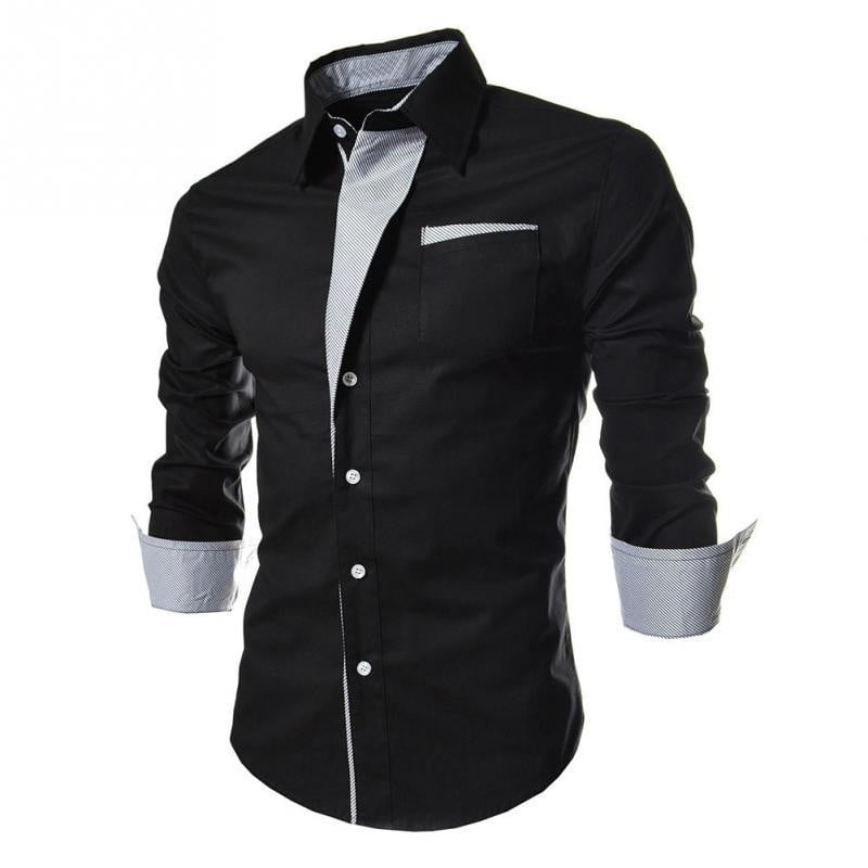 Slim Fashion Men Shirt New Brand Casual Long-Sleeved Dress Shirt - duo-men-store