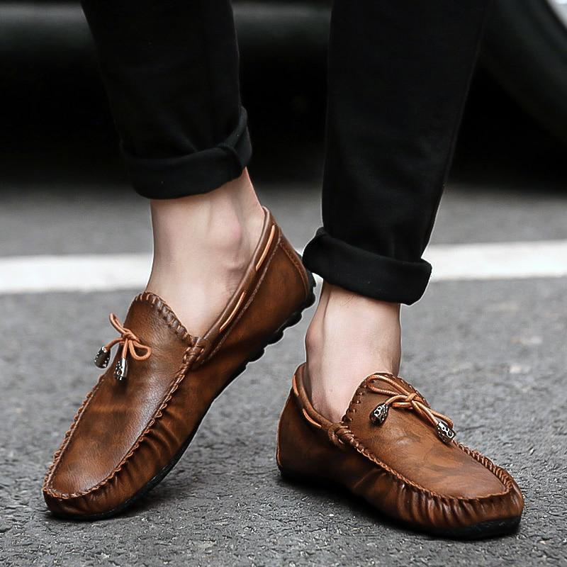 Casual Leather Loafer Shoes Men Soft Comfortable Driving Shoes Men Moccasins Footwear - DUO MEN STORE