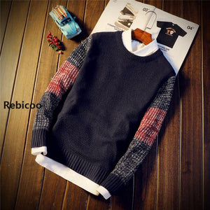 Sweater Pullovers Jumper Men's O-Neck Mixed Color Fashion Youth Teens Trend New Long Sleeve - DUO MEN STORE