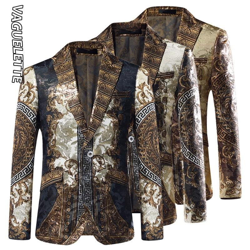 Gold Jacquard Blazer Slim Fit Blazer Masculino Stage Clothers - DUO MEN STORE