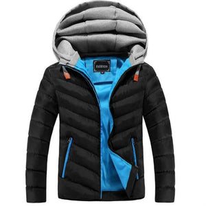 Winter Jacket Men Hat Detachable Warm Coat Cotton-Padded Outwear Mens Coats Jackets Hooded Collar Slim Clothes Thick Parkas - duo-men-store