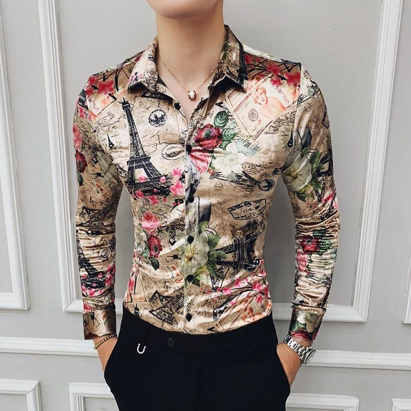 Luxury Shirts Mens Multi Gold Printed Slim Fit Royal Baroque Mens Clothing - DUO MEN STORE