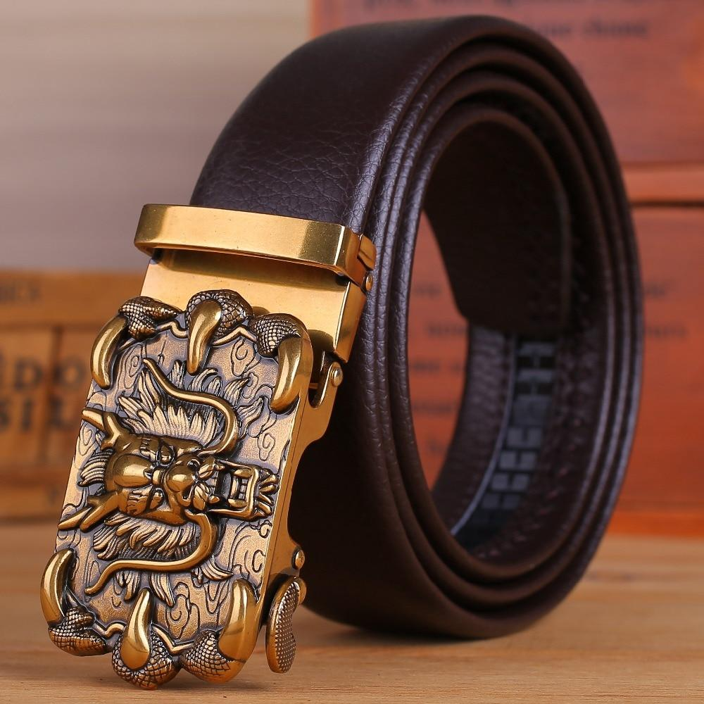 Microfiber Brown Leather Coffee Mens Belts Luxury Gold Dragon Automatic Buckle - DUO MEN STORE