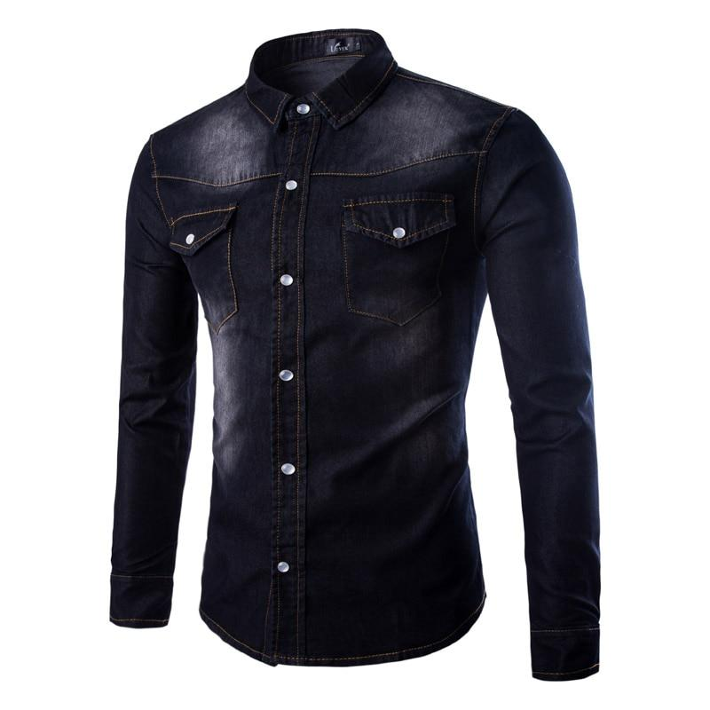 Long Sleeve Cotton High-Grade Shirt Navy Blue Casual Slim Fit Shirts Men Two-Pocket - DUO MEN STORE