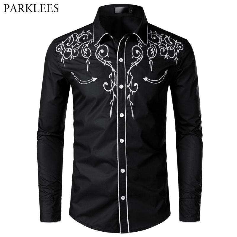 Stylish Western Cowboy Shirt Men Brand Design Embroidery Slim Fit Casual Long Sleeve Shirts - duo-men-store
