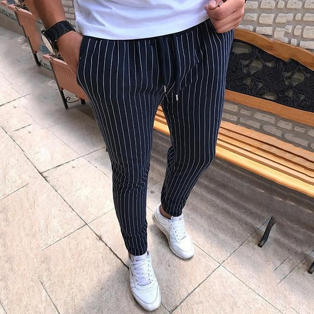 New Striped Pencil Pants Mens 2019 Casual Drawstring Trousers Male Street Fashion Breathable - duo-men-store