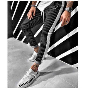 Men Striped Sport Sweatpants Casual - Men Fitness Joggers Bodybuilding Trousers - DUO MEN STORE