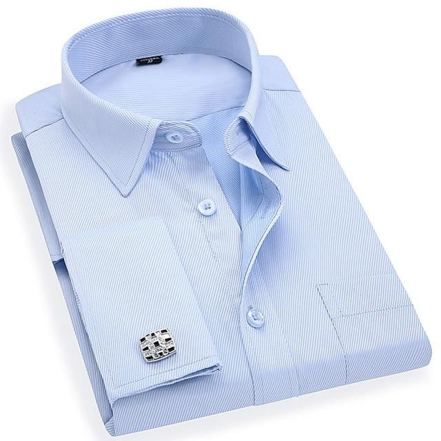 French Cuff Men's Dress Long Sleeve Shirt High Quality Regular Fit Male Social Wedding Party Cufflinks Shirt - duo-men-store