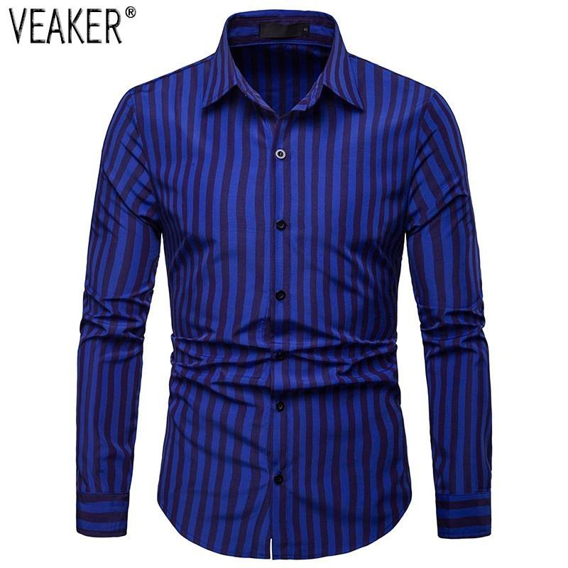 2019 New Men's Slim Fit Striped Shirt Red Blue Green Long Sleeve Business Shirt Tops Male Casual Striped Shirt S-2XL - duo-men-store
